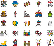 Colorful amusement park icons Stock Photography