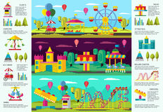 Colorful Amusement Park infographic Banners. With recreational swing carousels attractions and elements vector illustration Stock Photography