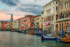Colorful ancient buildings on Grand Canal in Venice Stock Images