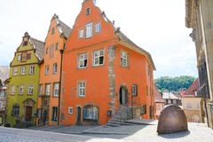 Colorful ancient gable houses - former Franciscan monastery - Schwabisch Hall, Germany. Gable houses former Franciscan monastery in medieval City Schwaebisch royalty free stock photos