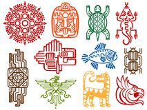 Colorful ancient mexican vector mythology symbols - american aztec, mayan culture native totem. Colorful ancient mexican vector mythology symbols isolated on stock illustration