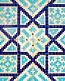 Colorful ancient traditional Uzbek pattern on the ceramic tile on the wall of the mosque vector illustration