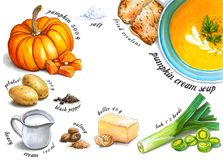 Colorful And Juicy Pumpkin Cream Soup Recipe Illustration. Stock Photography