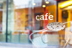 Colorful And Pastel Coffee Shop And Text Cafe In Front Of Mirror, Soft And Blur Concept Stock Image