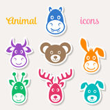 Colorful animal face icons vector illustration