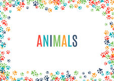 Colorful animal footprint ornament border isolated on white background. Vector illustration for animal design. Random foot print horizontal frame. Many bright Stock Image