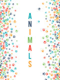 Colorful animal footprint ornament border  on white background Stock Photo