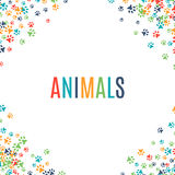 Colorful animal footprint ornament border  on white background Stock Photography