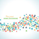 Colorful animal footprint ornament border  on white background Royalty Free Stock Images