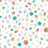 Colorful animal footprints seamless pattern. Vector illustration Royalty Free Stock Photos