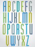 Colorful animated narrow font, comic upper case letters with whi Stock Images