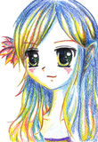 Colorful anime manga kawaii cartoon girl with flower in hair.  Stock Photography