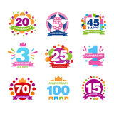 Colorful anniversary birthdays festive signs set,  elements collection. Vector Illustrations on a white background Stock Photography