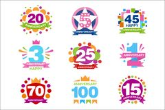 Colorful anniversary birthdays festive signs set, ubilee elements collection vector Illustrations. On a white background vector illustration