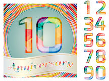 Colorful anniversary card. Template with digits Royalty Free Stock Photography