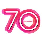 Colorful anniversary of 70. 70th number with variation colours stock illustration
