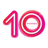 Colorful anniversary of 10. 10th number with variation colours vector illustration