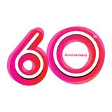 Colorful anniversary of 60. 60th number with variation colours stock illustration