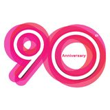 Colorful anniversary of 90. 90th number with variation colours stock illustration
