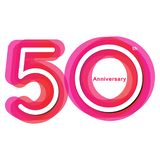 Colorful anniversary of 50. 50th number with variation colours royalty free illustration