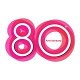 Colorful anniversary of 80. 80th number with variation colours vector illustration