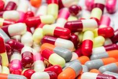 Colorful of antibiotic capsules pills , drug resistance Stock Image