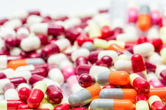 Colorful of antibiotic capsules pills , drug resistance Royalty Free Stock Photo