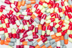 Colorful of antibiotic capsules pills, drug resistance Royalty Free Stock Photos