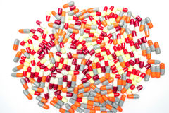 Colorful of antibiotic capsules pills, drug resistance Royalty Free Stock Photography