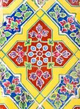 Colorful antique artwork with ceramic. At Ratchabophit temple in Bangkok , Thailand Royalty Free Stock Photography