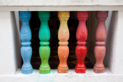Colorful antique balusters. In Cartagena de Indias Royalty Free Stock Photo