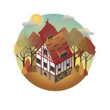 Colorful antique European home. Rent country houses. Sale, Real Estate. Autumn. European countryside. Cozy home in the trees. Vector illustration of a flat royalty free illustration