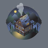 Colorful antique European home. Rent country houses. Sale, Real Estate. Night. European countryside. Cozy home in the trees. Vector illustration of a flat style royalty free illustration