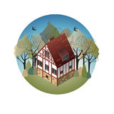 Colorful antique European home. Rent country houses. Sale, Real Estate. Spring. European countryside. Cozy home in the trees. Vector illustration of a flat royalty free illustration