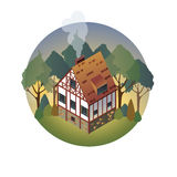 Colorful antique European home. Rent country houses. Sale, Real Estate. Summer. European countryside. Cozy home in the trees. Vector illustration of a flat stock illustration