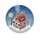 Colorful antique European home. Rent country houses. Sale, Real Estate. Winter. European countryside. Cozy home in the trees. Vector illustration of a flat Stock Photos