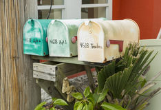 Colorful antique mailboxes on Matlacha in Pinie Island, Fort Myers, NM Stock Images