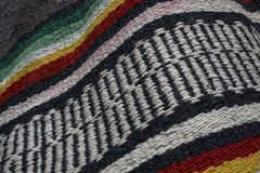 Colorful Antique Mexican Indian Blanket. A close up photo of an old colorful blanket from Mexico.  I love the geometric patterns and bright colors Stock Image