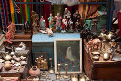 Colorful antique stall with in the popular Otavalo Royalty Free Stock Photography