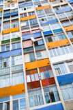 Colorful apartment building. Vertical image stock photo