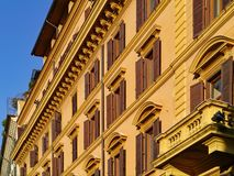 Colorful apartment building. Facade, Rome royalty free stock images
