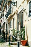 Colorful Apartment Building Facade In Lisbon. Portugal royalty free stock photography