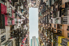 Colorful apartment building at Quarry Bay Stock Images