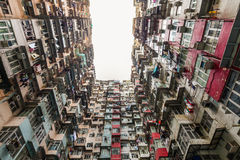 Colorful apartment building at Quarry Bay Stock Photo