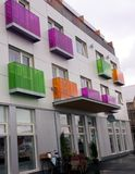Colorful Apartment Building in Reykjavík Iceland. An apartment building with colorful balconies is shown in Reykjavík Iceland stock photography