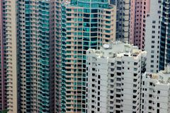 Colorful apartment building and skyscrapers in modern city aerial view. View from above drone modern skyscrapers in. Residential area in big city stock photo