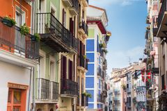 Colorful apartment buildings in the center of Pamplona. Spain Stock Images