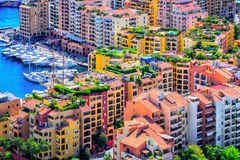 Colorful apartment buildings in the city center of Monaco Royalty Free Stock Photography