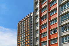 Colorful Apartment. A close up shot of a new colorful high rise apartment against the sky Stock Photography