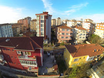 Colorful apartment houses. Residential housing community in Maltepe, Istanbul. Aerial view of suburban neighborhood and residential blocks. Low income family Stock Photo